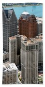 Downtown Aerial Of Detroit Michigan Beach Towel