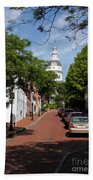 Downtown Annapolis With Maryland State House Cupola Beach Towel