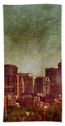 Downtown Denver Antiqued Postcard Beach Towel