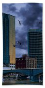 Downtown Grand Rapids Michigan By The Grand River With Gulls Beach Towel