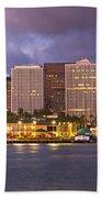 Downtown Honolulu Hawaii Dusk Skyline Beach Towel