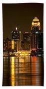 Downtown Louisville Kentucky Skyline Night Shot Beach Towel
