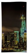 Downtown Manhattan At Night Beach Towel