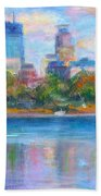 Downtown Minneapolis Skyline From Lake Calhoun Beach Towel