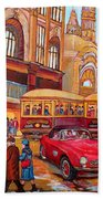 Downtown Montreal-streetcars-couple Near Red Fifties Mustang-montreal Vintage Street Scene Beach Towel