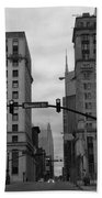 Downtown Nashville In Black And White Beach Towel by Dan Sproul