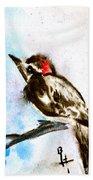 Downy Woodpecker Sumi-e Beach Towel