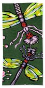 Dragonflies And Water Lilies Beach Towel