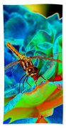 Dragonfly On A Cosmic Rose Beach Towel