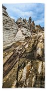 Dramatic Lava Rock Formation Called The Dragon's Teeth In Maui. Beach Towel