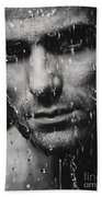 Dramatic Portrait Of Man Wet Face Black And White Beach Sheet