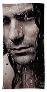 Dramatic Portrait Of Young Man Wet Face With Long Hair Beach Towel