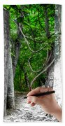 Drawn To The Woods With Imagination Beach Towel