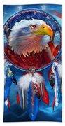Dream Catcher - Eagle Red White Blue Beach Sheet