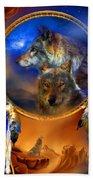 Dream Catcher - Wolf Dreams Beach Towel