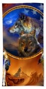 Dream Catcher - Wolf Dreams Patriotic Beach Towel