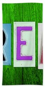 Dream License Plate Letter Vintage Phrase Artwork On Green Beach Towel