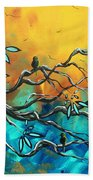 Dream Watchers Original Abstract Bird Painting Beach Towel by Megan Duncanson