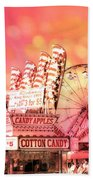 Surreal Hot Pink Orange Carnival Festival Cotton Candy Stand Candy Apples Ferris Wheel Art Beach Towel