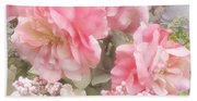 Dreamy Pink Roses, Shabby Chic Pink Roses - Romantic Roses Peonies Floral Decor Beach Towel