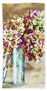 Dried Autumn Hydrangeas - Digital Paint Beach Sheet