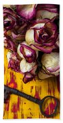 Dried Pink Roses And Key Beach Towel