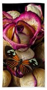 Dried Rose And Butterfly Beach Towel