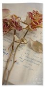 Dried Roses And Vintage Letter Beach Towel