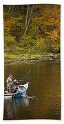 Drift Boat Fishermen On The Muskegon River Beach Towel