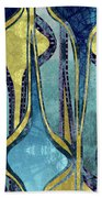 Droplet Ornaments In Navy Blue And Gold Beach Towel