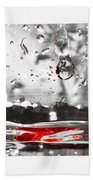 Drops Of Water With Red Beach Towel