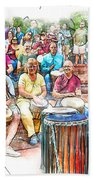 Drum Circle Of Friends Beach Towel