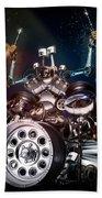 Drum Machine - The Band's Engine Beach Towel by Alessandro Della Pietra