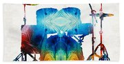 Drum Set Art - Color Fusion Drums - By Sharon Cummings Beach Towel