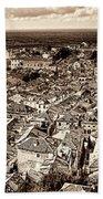 Dubrovnik Rooftops And Lokrum Island Against The Dalmatian Adriatic Sepia Beach Towel