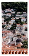 Dubrovnik Rooftops Domes And North East Walls Against The Mountains From The Sea Walls Beach Towel