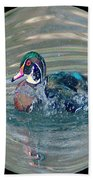 Duck In A Bubble  Beach Towel