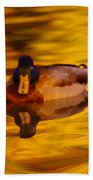 Duck On Golden Water Beach Towel