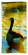 Duck Swimming Away Beach Towel