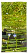 Ducks In Lily Pond Beach Towel