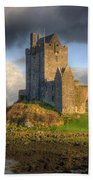 Dunguaire Castle With Dramatic Sky Kinvara Galway Ireland Beach Towel