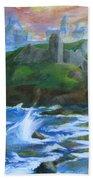 Dunscaith Castle - Shadows Of The Past Beach Towel