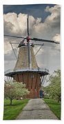 Dutch Windmill The Dezwaan On Windmill Island In Holland Michigan Beach Towel