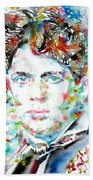 Dylan Thomas - Watercolor Portrait Beach Towel
