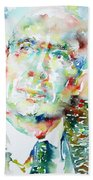 E. E. Cummings - Watercolor Portrait Beach Towel