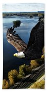 Eagle Over Mississippi  Beach Towel