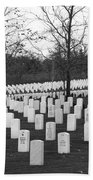Eagle Point National Cemetery In Black And White Beach Towel by Mick Anderson