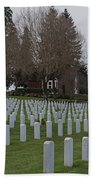 Eagle Point National Cemetery In Winter 2 Beach Towel
