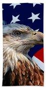 Eagle With Us American Flag Beach Towel