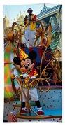 Early Morning Main Street With Mickey Walt Disney World 3 Panel Composite Beach Towel